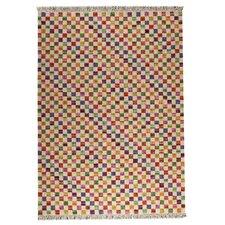 Checkers White/Multi Area Rug