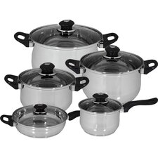 Family Stainless Steel 10 Piece Cookware Set