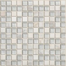 "Mixed Up 1"" x 1"" Natural Stone Mosaic Tile in Snow Peak"