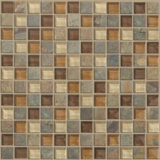 "Mixed Up 1"" x 1"" Slate Mosaic Tile in Crested Butter"