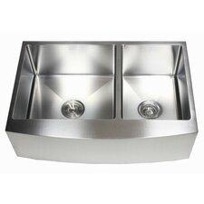 "Ariel 33"" x 21"" 60/40 Double Bowl Farmhouse Kitchen Sink"