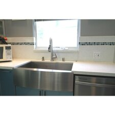 "Ariel 30"" x 21"" Stainless Steel Single Bowl Farmhouse Kitchen Sink"