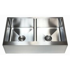 "Ariel 36"" x 21"" Stainless Steel 50/50 Double Bowl Farmhouse Kitchen Sink"