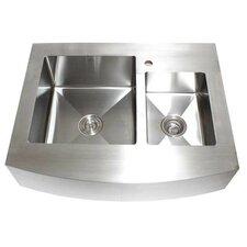 "Ariel 36"" x 26.25"" Stainless Steel 60/40 Double Offset Bowl Farmhouse Kitchen Sink"