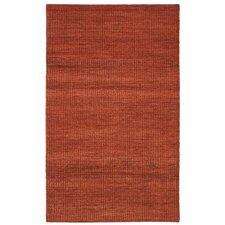 Cut Pile Solid Wool Hand-Woven Burnt Orange Area Rug