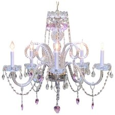 5 Light Pink Crystal Hearts Chandelier