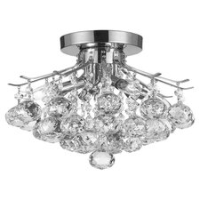 French Empire 4 Light Crystal Semi Flush Mount