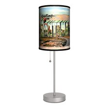 """Travel Montana Postcard 20"""" H Table Lamp with Drum Shade"""