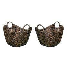 Water Hyacinth Laundry Baskets (Set of 2)