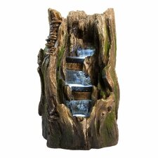 Rain Forest Log Resin and Fiberglass Cypress Garden Fountain with LED Lights