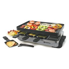 8 Person Eiger Raclette Party Grill with Reversible Cast Aluminum Non-Stick Grill Plate