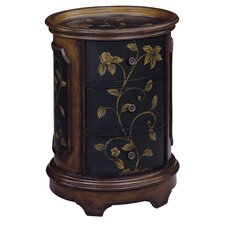Delia Floral Oval Tray Top 3 Drawer Chest
