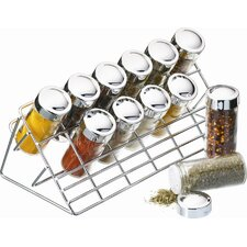 Chrome Plated 13 Piece Spice Rack Set