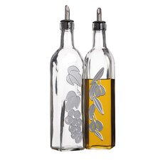Italian Large Glass Oil and Vinegar Dispensers (Set of 2)