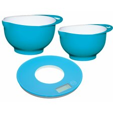 3 Piece Mixing Bowl and Scale Set