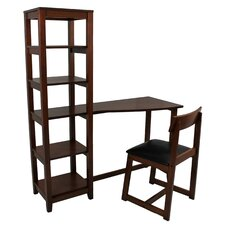 "Wallaston 47"" W Writing Desk with Attached Book Shelf and Chair"