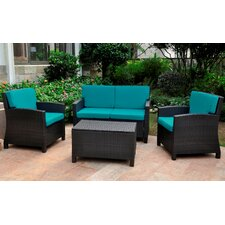 Valencia Wicker Resin 4 Piece Deep Seating Group with Cushions