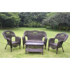 Maui Wicker Resin Aluminum 4 Piece Lounge Seating Group