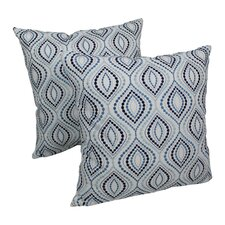 Indian Ogee Hand-embroidered Cotton Throw Pillow (Set of 2)
