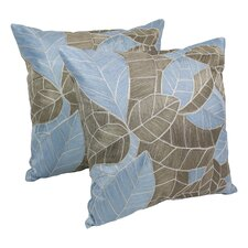Indian Picasso Foliage Hand-embroidered Cotton Throw Pillow (Set of 2)