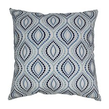 Indian Palette Ogee Hand-embroidered Cotton Throw Pillow