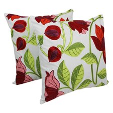 Elegant Rose Hand-embroidered Cotton Throw Pillow (Set of 2)