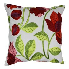 Elegant Rose Hand-embroidered Cotton Throw Pillow