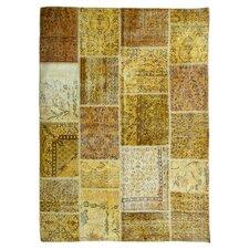Handgewebter Teppich Vintage in Gelb