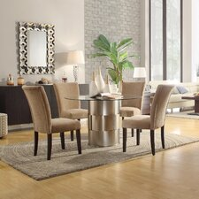Emanuella 5 Piece Dining Set in Light Brown Upholstery