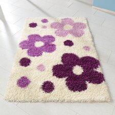 Kinderteppich Blumen in Weiß/ Lila