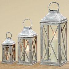 3-tlg. Laternen-Set Marleen aus Holz / Glas