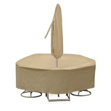 Round Table and High Back Chair Cover with Umbrella Hole