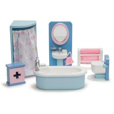 Rosebud Dollhouse Bathroom Set