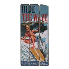 Wooden Ride the Wave Graphic Art Plaque