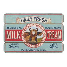 Daily Fresh Milk and Cream Graphic Art Plaque