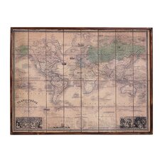 Old Map in Wooden Framed Graphic Art