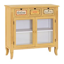 French Glass Painted Wooden Cabinet