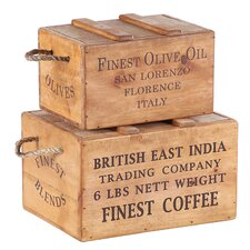 2 Piece Rustic Vintage Wooden Lidded Chest Box Set