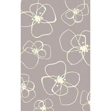 Textila Light Gray Floral Area Rug