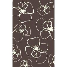 Textila Chocolate Floral Area Rug