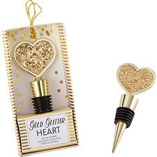 Glitter Heart Bottle Stopper (Set of 10)