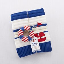 Sail Away Classic Knit Cable Blanket and Rattle