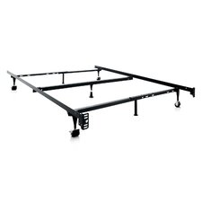 Heavy Duty 7-Leg Adjustable Metal Bed Frame with Center Support and Rug Roller