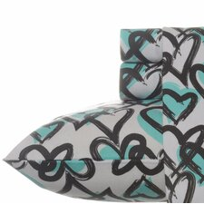 100% Cotton Brushed Hearts Flannel Sheet Set