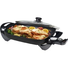 "Gourmet 15"" x 12"" Electric Skillet with Glass Lid"