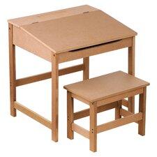2-tlg. Rechteckiges Kinder Tisch und Hocker-Set