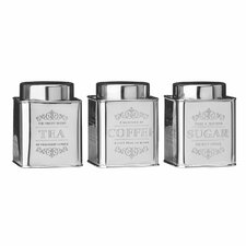 Chai 3-Piece Tea Coffee Sugar Stainless Steel Canister Set