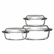 3-Piece Glass Oval Casserole-Set