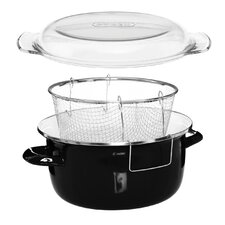 Deep Fryer Enamel on Steel with Glass Pyrex Lid