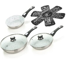 Cerafit Mont Blanc 4 Piece Frying Pan Set with Lids
